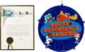 Memorabilia:Comic-Related, Rocky and Bullwinkle Day Proclamation and Store Display (Jay Ward, 1986/90's).... (Total: 2 Items)