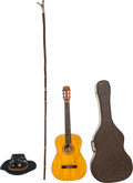 Decorative Accessories:Contemporary, A Goya Classical Guitar, a Carved Wood and Antler Walking Stick, and a Felt Travel Hat. 70-1/2 inches (179.1 cm) (longest, w... (Total: 3 Items)