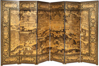 A Chinese Coromandel Lacquered Pictorial Room Screen 80 x 127-1/2 inches (203.2 x 323.9 cm) (overall)