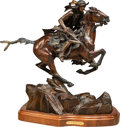 Sculpture, Ken Payne (American, b. 1938). Thunder on the Ridges, 1993. Bronze with brown patina. 19 inches (48.3 cm) high on a 2 in...