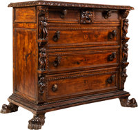 An Italian Renaissance Revival Carved Walnut Chest of Drawers, late 19th century 43-1/4 x 52 x 24-1/2 inches (109