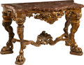 Furniture , An Italian Baroque-Style Carved Giltwood Console with Marble Top, 19th century. 35-5/8 x 55-1/4 x 28 inches (90.5 x 140.3 x ...