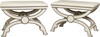 A Pair of Curule Benches with Hermès Leather Upholstery designed by Paxton Gremillion, Dallas, Texas, 20th... (To...