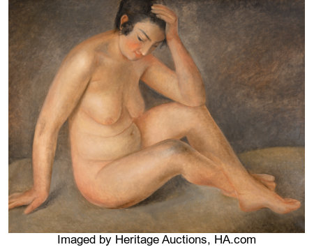 Othon Coubine (Czechoslovakian, 1883-1969) Femme Nue Oil on canvas 28-3/4 x 36-1/4 inches (73.0 x 92.1 cm) Signed lo...