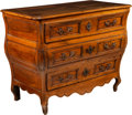 Furniture , A French Provincial Walnut Bombé Commode, 19th century. 34 x 43 x 22 inches (86.4 x 109.2 x 55.9 cm). ...