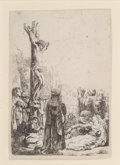 Prints & Multiples, Rembrandt van Rijn (Dutch, 1606-1669). The Crucifixion: Small Plate, circa 1635. Etching on laid paper. 3-3/4 x 2-1/8 in...
