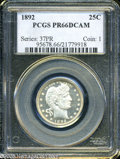"Proof Barber Quarters: , 1892 25C PR 66 Deep Cameo PCGS. The current Coin Dealer Newsletter (Greysheet) wholesale ""bid"" price is $2015.00...."
