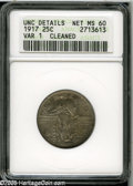 Standing Liberty Quarters: , 1917 25C Type One MS60--Cleaned--ANACS, UNC Details....