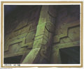 Original Comic Art:Miscellaneous, Heavy Metal 2000 Background Painting Original Art (Heavy Metal, 2000). Archaic walls carved with alien symbols, tower out of...