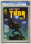 Magazines:Superhero, Marvel Preview #10 (Marvel, 1977) CGC NM- 9.2 Off-white to whitepages. Thor the Mighty. Ken Barr cover. Jim Starlin, Tony D...