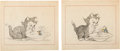 Animation Art:Production Drawing, Mickey and the Beanstalk/The Legend of Happy Valley Figaro and Donald Duck Storyboard Drawings Group of 12 (Walt Disne... (Total: 12 Original Art)