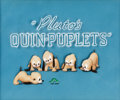 Animation Art:Production Cel, Pluto's Quin-Puplets Production Title Cel (Walt Disney,1937)....