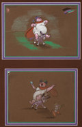 Animation Art:Concept Art, Fantasia Bacchus and Jacchus Pastel Concept Drawings Group of 2 (Walt Disney, 1940). ...