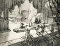 Animation Art:Concept Art, Pinocchio Geppetto and Figaro Concept/Layout Drawing Original Art (Walt Disney, 1940)....