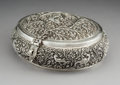 Silver & Vertu:Hollowware, A Large Indian or Burmese Silver Repoussé and Reticulated Box with Avian Motifs, late 19th-early 20th century. 4 x 10 x 8-3/...