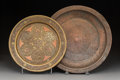 Decorative Arts, Continental:Other , Two Islamic Copper and Brass Dishes, 19th century. 14-1/2 inches(36.8 cm) (larger). ... (Total: 2 Items)