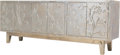 Furniture , A Custom Silvered Overlay Credenza with Iris Motif, 20th century. 30-3/4 x 80 x 18 inches (78.1 x 203.2 x 45.7 cm). PROPER...