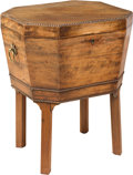 Furniture , A George III-Style Mahogany Octagonal Cellarette, late 19th-early 20th century. 26-1/2 x 21-1/2 x 18 inches (67.3 x 54.6 x 4...