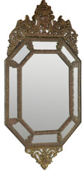 Furniture, A Louis XV-Style Brass Repoussé Overlay Mirror, early 20th century. 56 x 29-1/2 inches (142.2 x 74.9 cm). ...