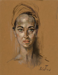 Cecil Beaton (British, 1904-1980) Merle Oberon Oil and pastel on board 18-1/2 x 14-1/2 inches (47