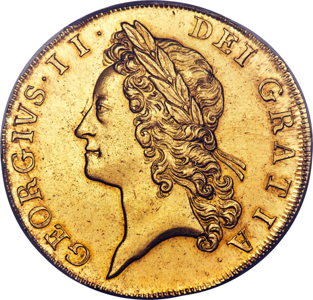 Great Britain: George II gold 5 Guineas 1729 MS64 PCGS