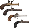 Handguns:Muzzle loading, Lot of Four Engraved Boot Pistols.... (Total: 4 Items)