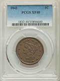 Large Cents: , 1841 1C XF40 PCGS. PCGS Population: (19/123). NGC Census: (6/76). CDN: $140 Whsle. Bid for problem-free NGC/PCGS XF40. Mint...