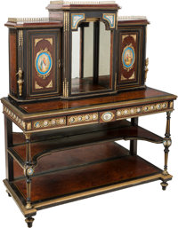 A Napoleon III Sèvres-Style Porcelain and Gilt Bronze-Mounted, Satinwood-Inlaid and Partial Ebonized Birdseye Map...