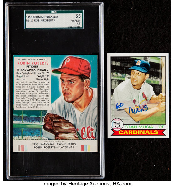 1953 Red Man Robin Roberts Sgc 55 Vgex 45 And Signed Stan