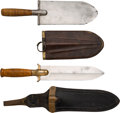Edged Weapons:Knives, U.S. Army Entrenching Tool Circa 1880 and U.S. Model 1880 Hunting Knife. ... (Total: 2 Items)