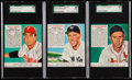 Baseball Cards:Lots, 1952 Red Man Tobacco (With Tabs) SGC Graded Trio (3)....