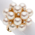 Estate Jewelry:Rings, Diamond, Cultured Pearl, Gold Ring. ...