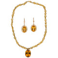 Estate Jewelry:Lots, Citrine, Gold Jewelry. ... (Total: 2 Items)