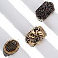 Estate Jewelry:Rings, Gentleman's Ruby, Sapphire, Black Onyx, Gold, Silver, Base Metal Rings . ... (Total: 3 Items)