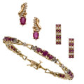 Estate Jewelry:Lots, Ruby, Diamond, Gold Jewelry. ... (Total: 3 Items)