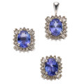 Estate Jewelry:Suites, Tanzanite, Diamond, White Gold Jewelry. ... (Total: 2 Items)