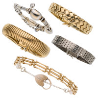 Diamond, Cultured Pearl, Gold Bracelets
