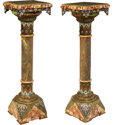 Decorative Arts, French:Other , A Pair of French Champlevé Enamel and Gilt Bronze-Mounted OnyxPedestals, late 19th century . 45-1/4 x 13-1/4 x 13-1/4 inche...(Total: 2 Items)