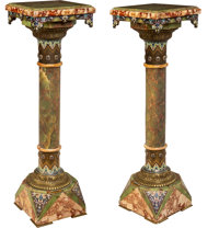 A Pair of French Champlevé Enamel and Gilt Bronze-Mounted Onyx Pedestals, late 19th century 45-1/4 x 13-1/4 x 13-...