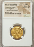 Ancients:Byzantine, Ancients: Justin II (AD 565-578). AV solidus (21mm, 4.47 gm, 6h).NGC MS 4/5 - 4/5....