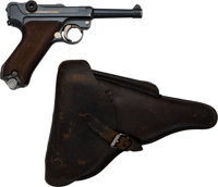 German DWM Luger Dated 1914 Semi-Automatic Pistol with Leather Holster