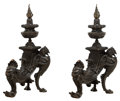 Other, A Pair of Renaissance Revival Patinated Bronze Figural Andirons, late 19th century. 25 x 14-1/2 x 8-3/4 inches (63.5 x 36.8 ... (Total: 2 Items)
