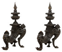 A Pair of Renaissance Revival Patinated Bronze Figural Andirons, late 19th century 25 x 14-1/2 x 8-3/4 inches (63