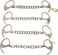 Militaria:Armor, Lot of Four Tower's Double Lock Antique Leg Shackles.... (Total: 4Items)