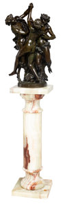 Sculpture, After Auguste Louis Moreau (French, 1855-1919). Dancing Figures. Bronze with brown patina. 29 inches (73.7 cm) high on a...