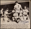 Autographs:Photos, 1968 Mickey Mantle 534th Career Home Run Signed Vintage Wire Photograph, His Last Right-Handed Home Run....
