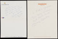 "Autographs:Letters, Mickey Mantle Ephemera Lot of 4 with 3 Signatures, Including Rare""Great Flight"" Inscription...."
