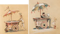 Animation Art:Concept Art, Disneyland Ice Cream Carts Hand-Colored Prints Group of 2 (Walt Disney, 1954).... (Total: 2 Items)