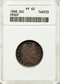 Proof Barber Quarters: , 1898 25C PR63 ANACS. NGC Census: (22/141). PCGS Population: (35/125). PR63. Mintage 735. ...
