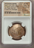 Ancients:Byzantine, Ancients: Isaac II Angelus, first reign (AD 1185-1195). EL asprontrachy (28mm, 3.23 gm, 6h). NGC Choice AU 4/5 - 4/5, clipped....